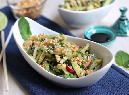 Asian-style Avocado Cucumber Salad with Chili Soy Sauce