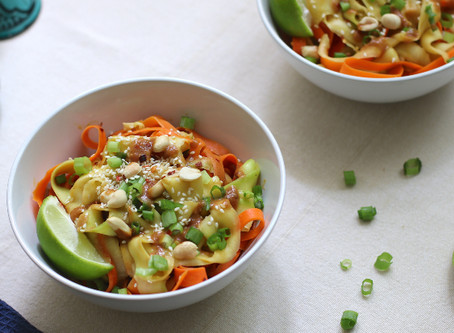 Zucchini and Carrot Stir Fry with Peanut Sauce (Zucchini Noodles)