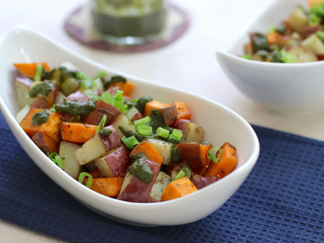 Roasted Potatoes & Sweet Potatoes with Vegan Pesto Sauce