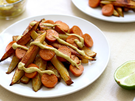 Baked French Fries & Vegan Hot Dog