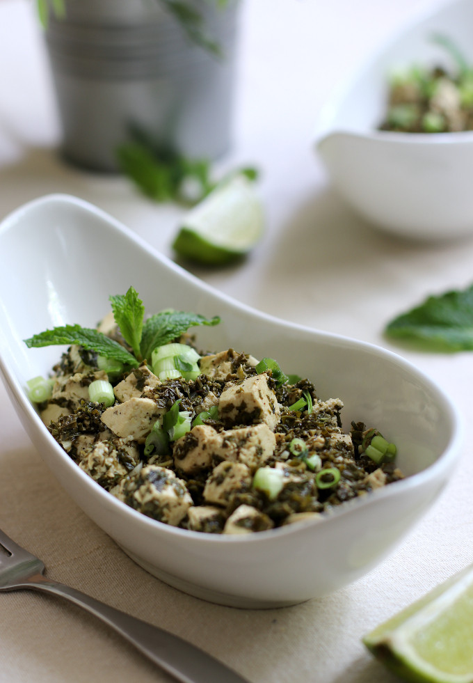 tofu with mint sauce