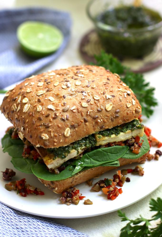 vegan tofu olive sandwich