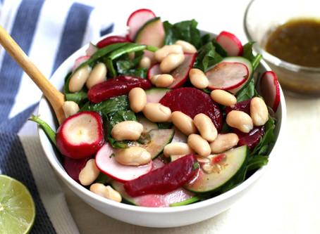 Spinach, Beet, & Radish Salad with Balsamic Vinaigrette