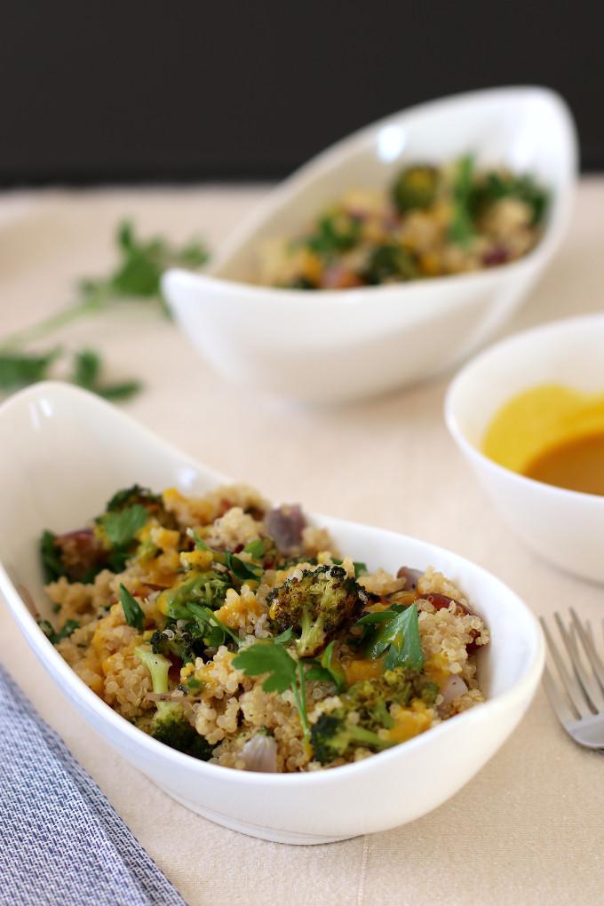 vegan broccoli quinoa salad