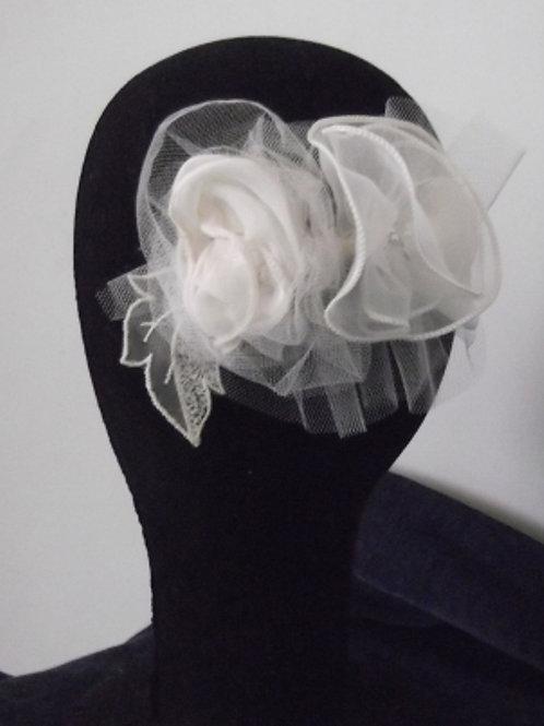 Beaded Ivory Rose Headpiece