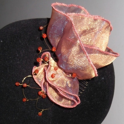 Beaded Rust Tan Purple Organza Rose Haircomb