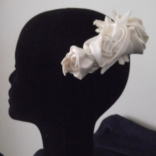 Ivory and Cream Delustred Satin Guipure Lace Headpiece