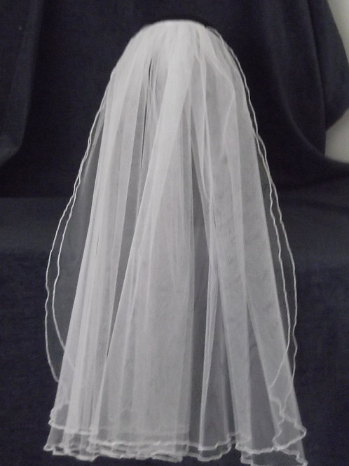 2 Tier Fluted Edge Bridal Veil, 52 cm length