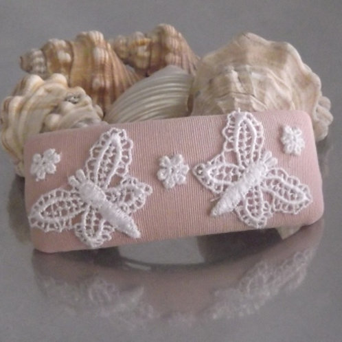 Pink Butterfly Floral Guipure Lace Hair Barrette
