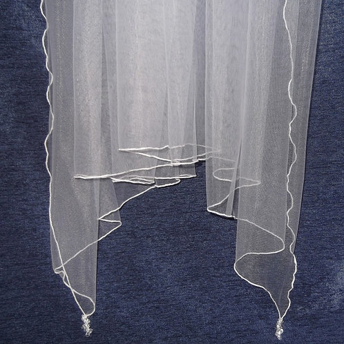 Single Tier Crystal Beaded Handkerchief Veil, 87 cm length