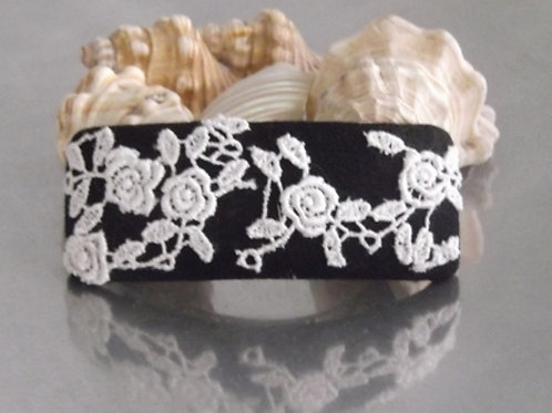 Black and White Rose Guipure Lace Hair Barrette