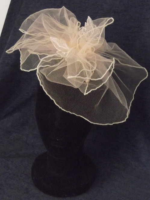 Salmon Pink Tulle Fascinator