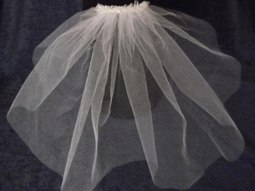 Crystal Beaded Single Tier 50s Style 30 cm Length Veil