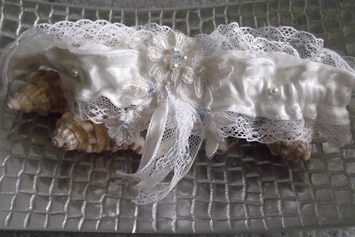 Ivory Satin, Lace and Blue Crystal Bridal Garter