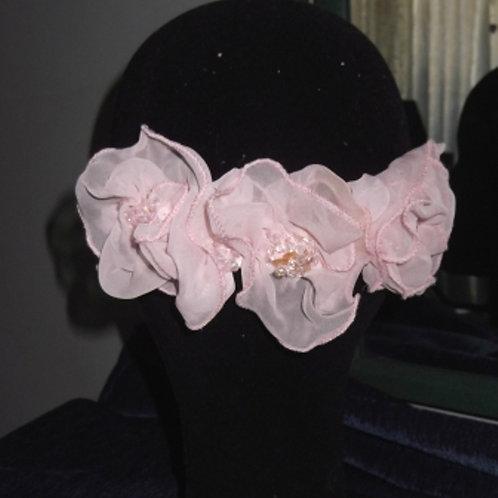 Beaded Pink Chiffon Flower Headpiece