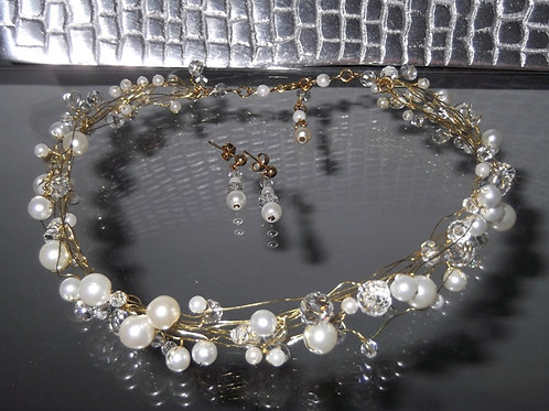 Pearl and Crystal Necklace & Earring Set