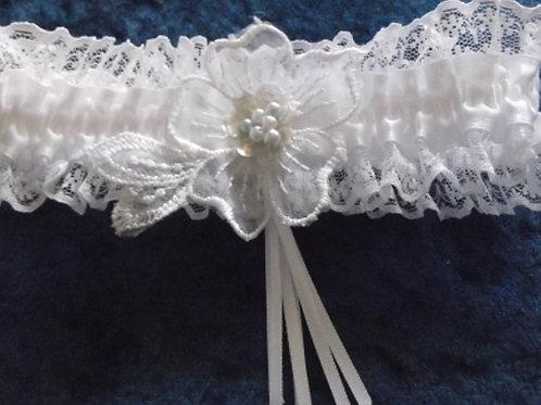 White Shirred Satin & Lace Bridal Garter
