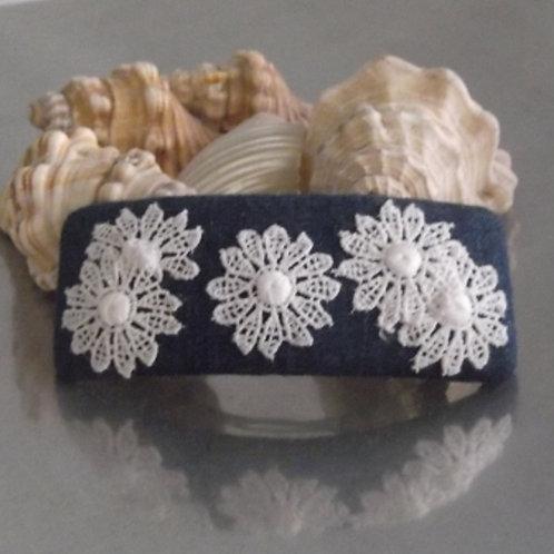 White Daisy Guipure Lace Hair Barrette
