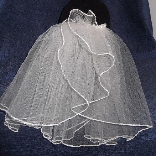 Pearl Beaded Ruffle Bridal Veil, 30 cm length