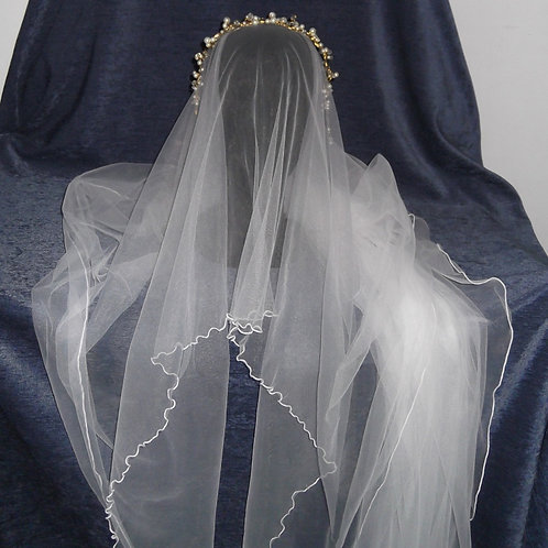 Rectangular Chapel Length Veil, 300 cm length