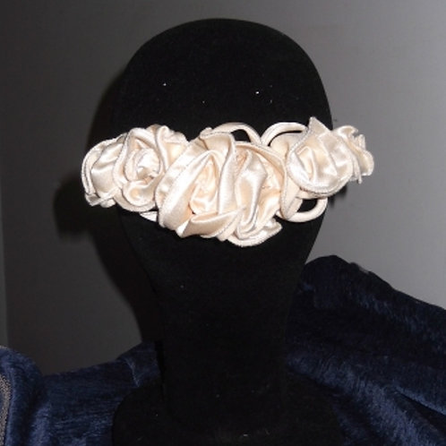 Cream Satin Crepe Roses Haircomb