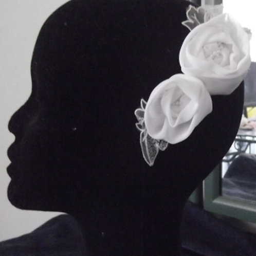 Beaded White Rose Headpiece