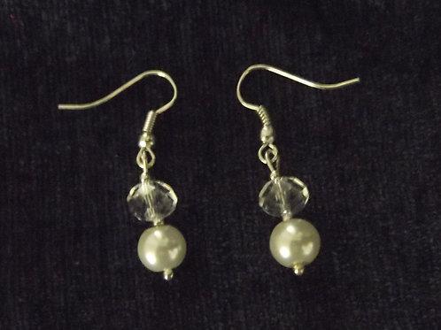 Pearl Crystal Drop Crystal Hook Earrings