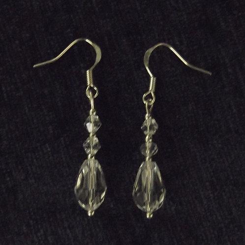 Tear Drop Crystal Hook Earrings