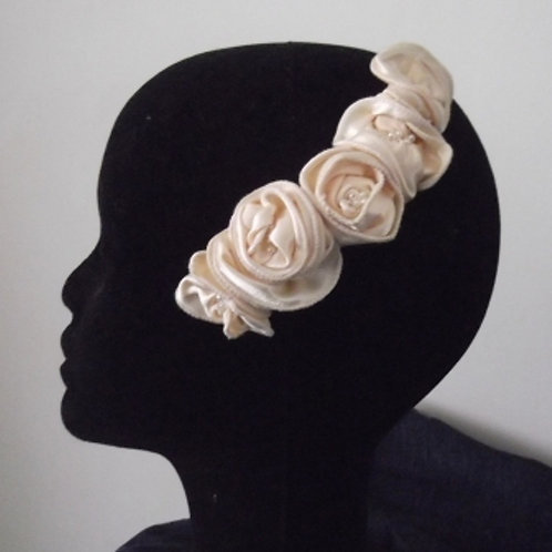 Cream Satin Roses Haircomb