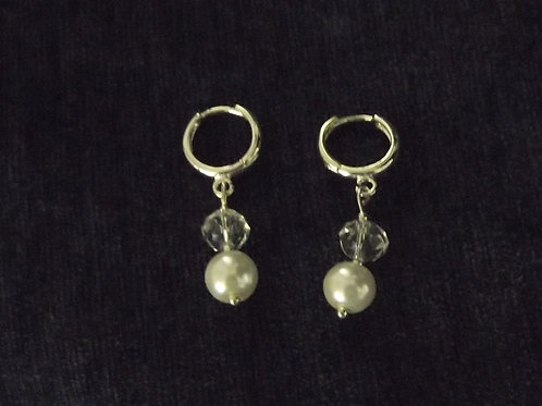 Pearl Crystal Hoop Earrings