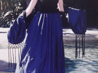 Blue Taffeta Strapless Gown