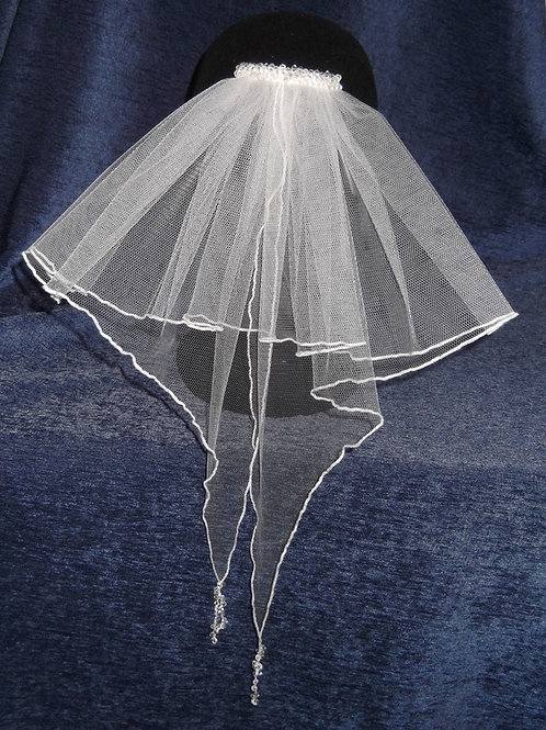 Beaded Ruffle Bridal Veil, 49 cm length