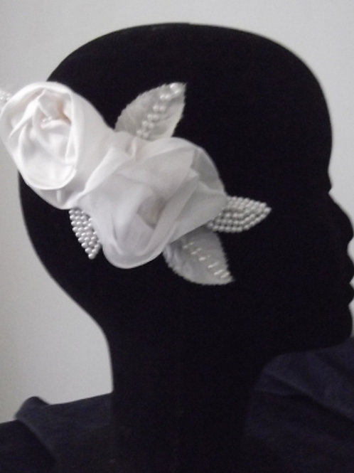 Beaded White Rose Headpiece Brooch