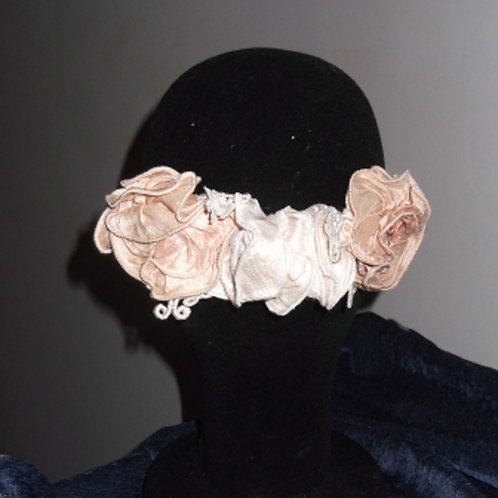 Ivory and Salmon Pink Dupion Roses Haircomb