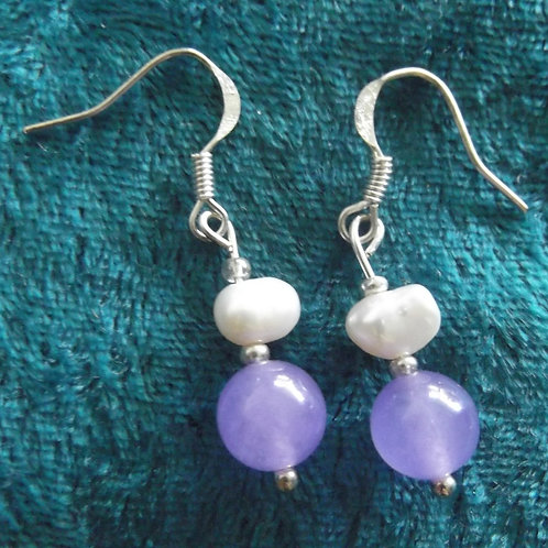 Lilac Jade Freshwater Pearl Earrings