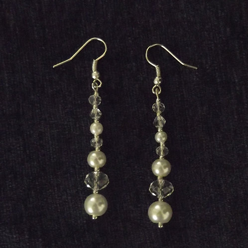 Long Crystal Pearl Drop Hook Earrings