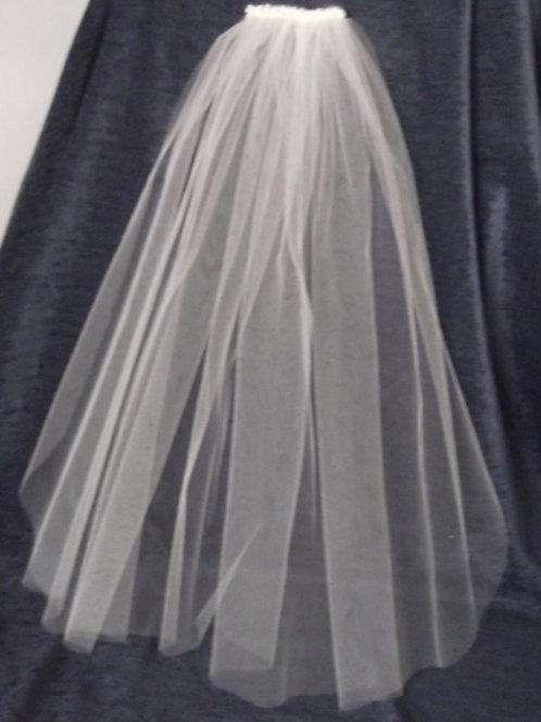 Beaded Single Tier Cut Edge 60 cm Length Veil