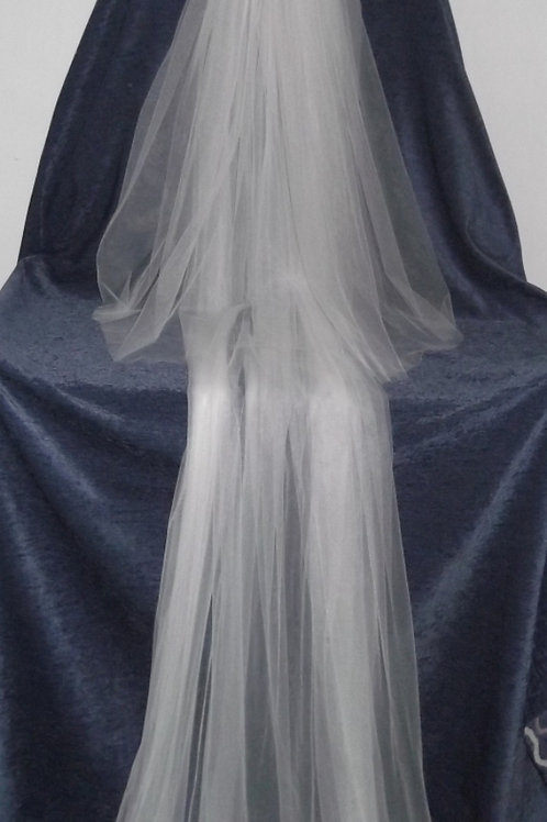 2 Tier Train Length Veil, 220 cm length
