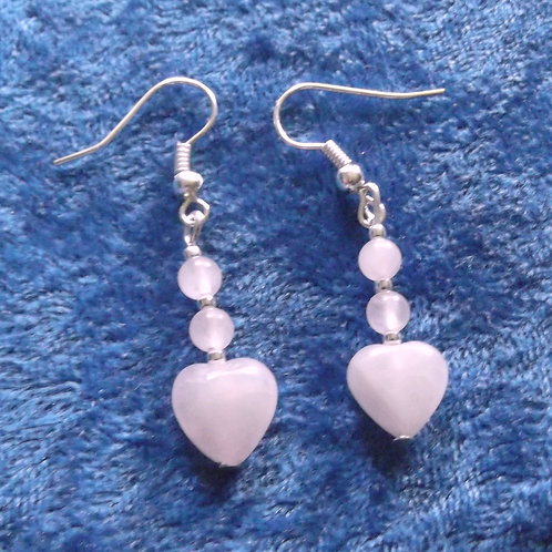 Long Rose Quartz Gemstone Heart Earrings
