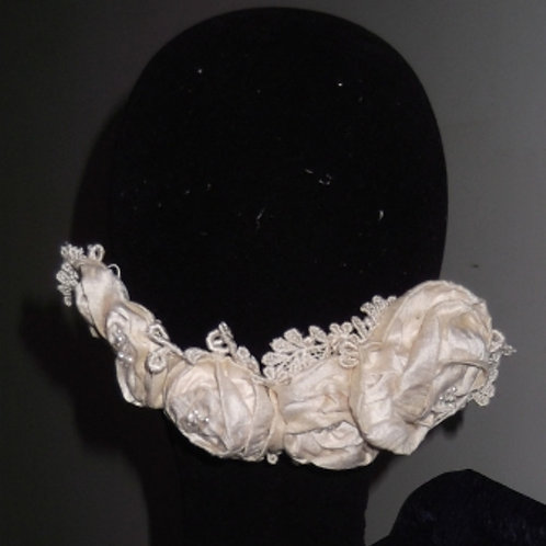 Ivory Dupion and Lace Roses HaircombHaircomb