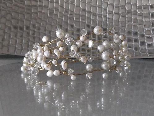 Freshwater Pearl and Crystal Tiara