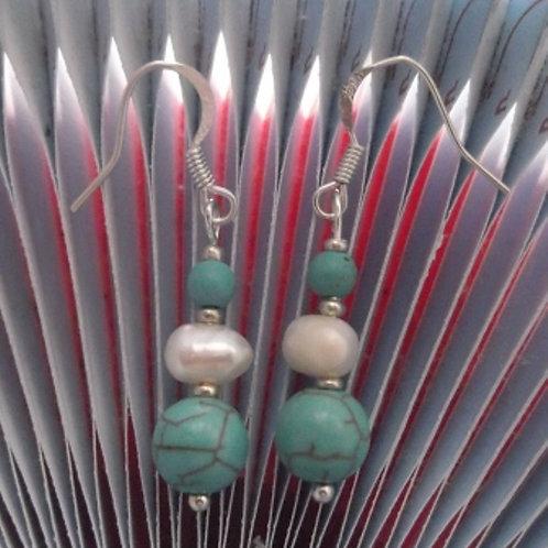 Freshwater Pearl Turquoise Gemstone Earrings