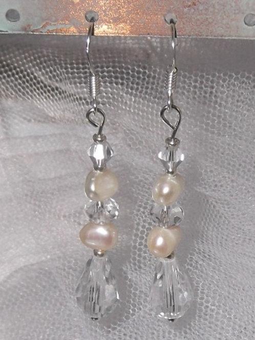 Freshwater Pearl Pear Drop Crystal Earrings