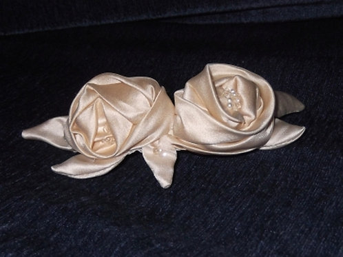 Cream Delustred Satin Rose Haircomb
