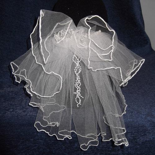 Beaded Ruffle Bridal Veil, 29 cm length