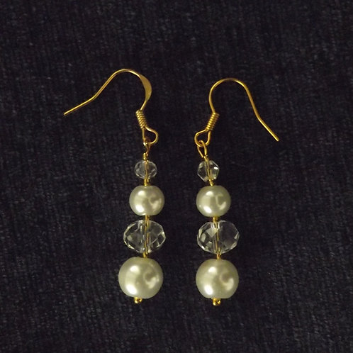 Crystal Pearl Drop Hook Earrings