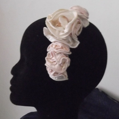 Ivory and Pink Dupion Roses Haircomb
