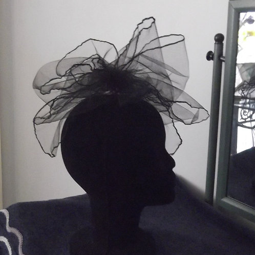Black Tulle Ruffle Fascinator