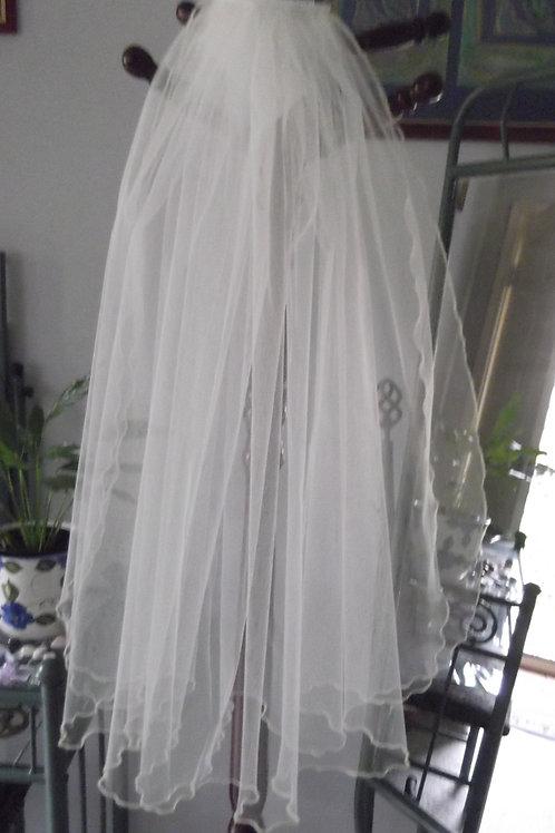 2 Tier Fluted Edge 60 cm Length Veil