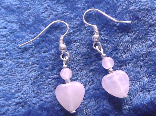 Rose Quartz Gemstone Heart Earrings